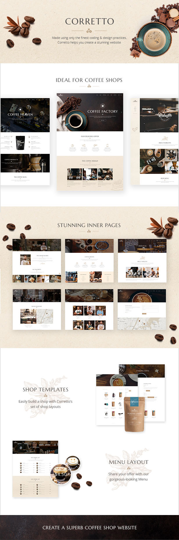WordPress theme Corretto - A Modern Theme for Coffee Shops and Cafés (Restaurants & Cafes)